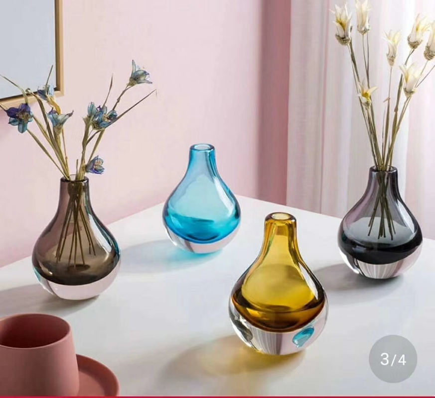 Brown Colored Glass Flower Vases / Bulb Type Glass Flower Vase Decoration